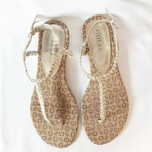 GUESS Gold and Neutral Braided thong Sandals
